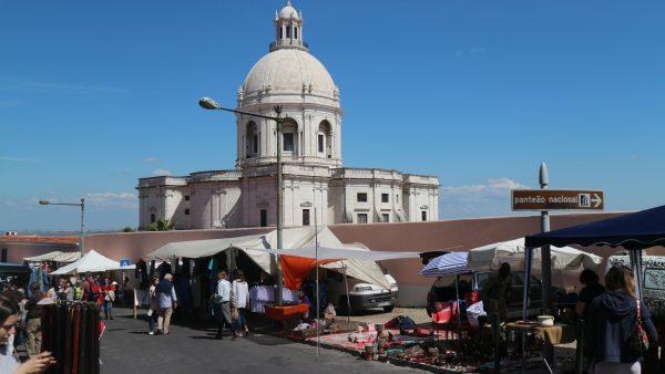 The Feira da Ladra or 'thieves market' in the shadow of the Santa Engracia Church, Lisbon