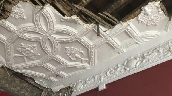 Demolished ceiling at 15 Small Street Bristol.