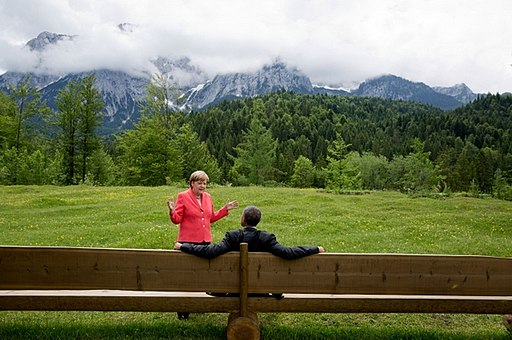 Angela Merkel extolling the virtues of the open air