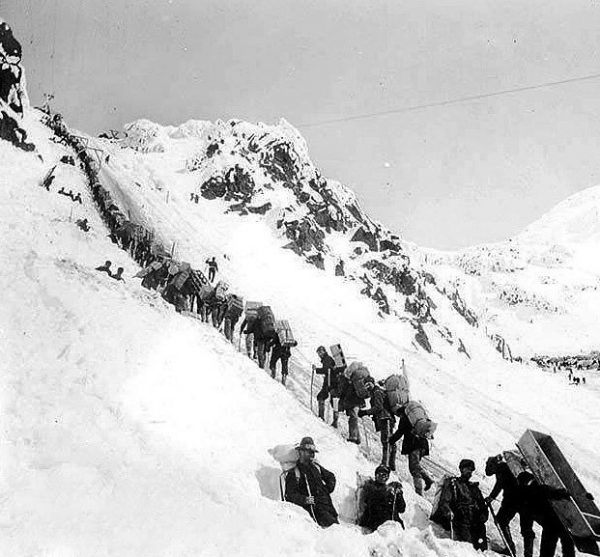 Prospectors ascending the Chilkoot Pass heading for the Klondike Gold Rush 1898