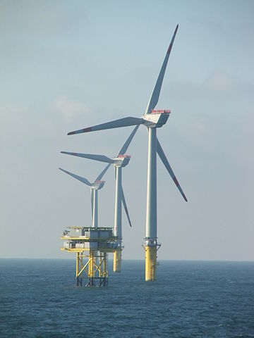 Race Bank - the fifth biggest wind farm in the world opened 13 June 2018 off the Norfolk and Lincolnshire coast with 91 turbines such as these Photograph SteKrueBe
